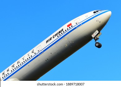 Frankfurt,Germany-April 29,2017:Air China Boeing 777 over airport.