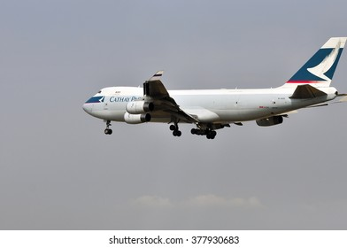 FRANKFURT,GERMANY-AUG 10:airplane of Cathay Pacific Cargo above the Frankfurt airport on August 10,2015 in Frankfurt,Germany.Cathay Pacific is the flag carrier of Hong Kong.