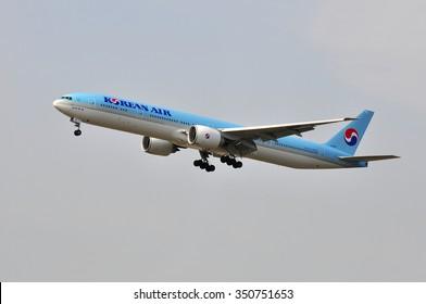 FRANKFURT,GERMANY-AUG 10:airplane of Korean Air on August 10,2015 in Frankfurt,Germany.Korean Air Lines Co., Ltd., operating as Korean Air, is the largest airline in South Korea.