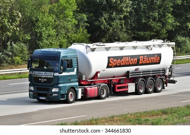 FRANKFURT,GERMANY-AUG 10:oil truck on the highway on August 10,2015 in Frankfurt,Germany.