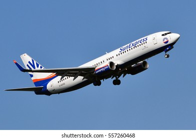 FRANKFURT,GERMANY-AUG 18: SunExpress Airlines Boeing 737-800 takes off at Frankfurt airport on SAugust 18,2016 in Frankfurt,Germany.SunExpress is a Turkish airline based in Antalya, Turkey.