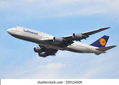 FRANKFURT,GERMANY-AUG 18:Boeing 747-8 of Lufthansa approaching Frankfurt airport on August 18,2016 in Frankfurt,Germany.Lufthansa is a German airline and  largest airline in Europe.