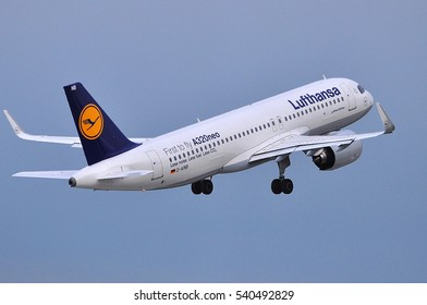 FRANKFURT,GERMANY-AUG 18:LUFTHANSA Airbus A320neo Takes off at Frankfurt airport on August 18,2016 in Frankfurt,Germany.