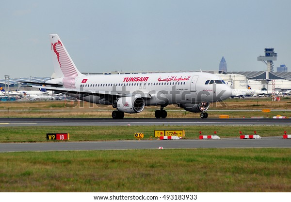 FRANKFURT,GERMANY-AUG 18:Tunisair Airbus A320 on the runway on August 18,2016 in Frankfurt,Germany.Tunisair is the flag carrier airline of Tunisia.