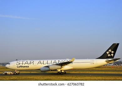 FRANKFURT,GERMANY-AUG 21: LUFTHANSA Airbus A340-300 on the runway on August 21,2015 in Frankfurt,Germany.