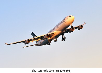 FRANKFURT,GERMANY-AUG 25:LUFTHANSA Airbus A340-300 approaching Frankfurt airport on August 25,2016 in Frankfurt,Germany..Lufthansa is a German airline and largest airline in Europe.