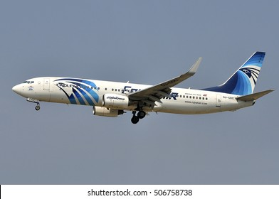 FRANKFURT,GERMANY-AUG10:EgyptAir Boeing 737-800 approaching  Frankfurt airport on August 10,2015 in Frankfurt,Germany.EgyptAir-national airline of Egypt based in Cairo and based on the Cairo airport.