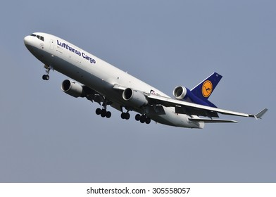 FRANKFURT,GERMANY-AUGUST 10:airplane of Lufthansa Cargo on August 10,2015 in Frankfurt,Germany. Lufthansa Cargo is a German cargo airline with its headquarters at Frankfurt airport.