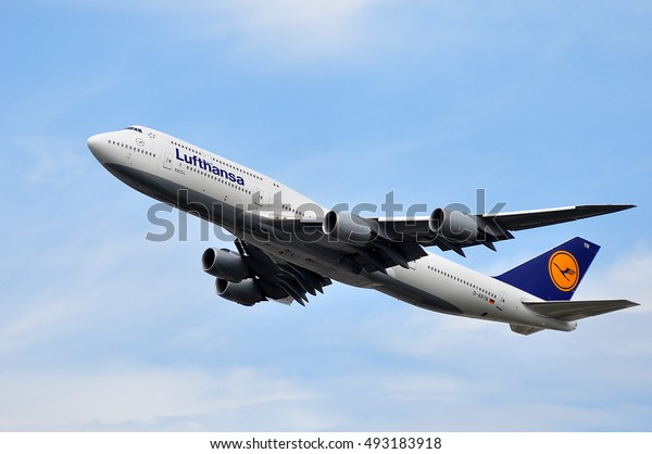 FRANKFURT,GERMANY-AUGUST 18:Boeing 747 of LUFTHANSA at take-off on August 18,2016 in Frankfurt,Germany.Lufthansa is a German airline and also the largest airline in Europe.