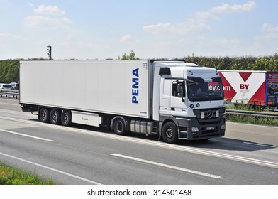 FRANKFURT,GERMANY-AUGUST 21: truck on the highway on August 21,2015 in Frankfurt,Germany.