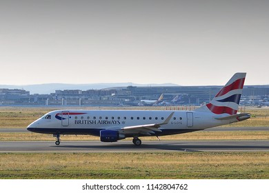 FRANKFURT,GERMANY-AUGUST 21,2015:BRITISH AIRWAYS CityFlyer Embraer ERJ-170.
