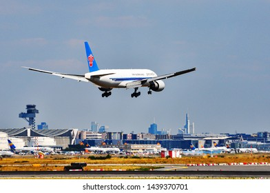 Frankfurt,Germany-August 22,2015:China Southern Cargo Boeing 777 over airport.