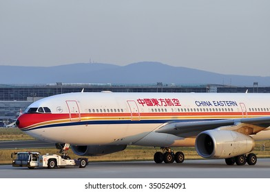 FRANKFURT,GERMANY-AUGUST 22:airplane of China Eastern Airlines Corporation Limited in the Frankfurt airport on August 22,2015 in Frankfurt,Germany.
