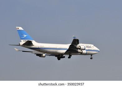 FRANKFURT,GERMANY-AUGUST 22:airplane of Kuwait Airways in the Frankfurt airport on August 22,2015 in Frankfurt,Germany.Kuwait Airways is the national airline of Kuwait.