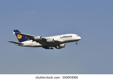 FRANKFURT,GERMANY-AUGUST 22:airplane of Lufthansa over the Frankfurt airport on August 22,2015 in Frankfurt,Germany.Lufthansa is a German airline and also the largest airline in Europe.