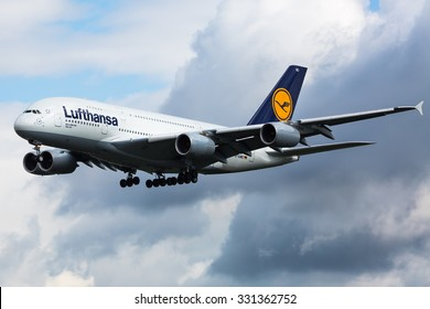 FRANKFURT,GERMANY-AUGUST 23:Airbus A380 LUFTHANSA approaching airport. Largest passenger aircraft. Lufthansa aircraft. Biggest passenger aircraft on August 23,2014 in Frankfurt,Germany.