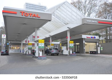 FRANKFURT,GERMANY-DEC 08:view on the TOTAL gas station on December 08,2016 in Frankfurt,Germany.Total is a French multinational oil company and one of the Supermajor oil companies in the world.