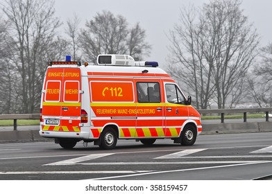 FRANKFURT,GERMANY-DEC 10: fire engines on the highway on December 10,2015 in Frankfurt,Germany.