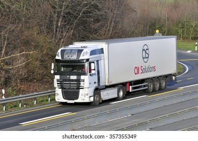 FRANKFURT,GERMANY-DEC 22: truck on the highway on SDecember 22,2015 in Frankfurt,Germany.