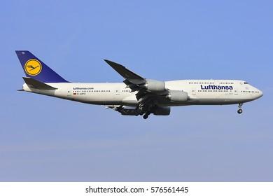 FRANKFURT,GERMANY-FEB 09: LUFTHANSA Boeing 747-8 lands at airport on February 09,2017 in Frankfurt,Germany.