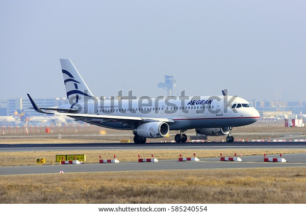 FRANKFURT,GERMANY-FEB 09:AEGEAN AIRLINES Airbus A320 takes off at airport on February 09,2017 in Frankfurt,Germany.Aegean Airlines S.A. is the largest Greek airline.