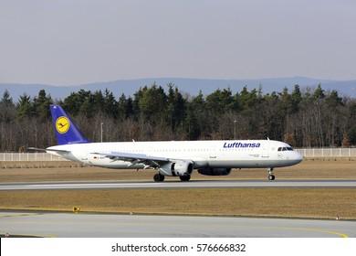 FRANKFURT,GERMANY-FEB 09:LUFTHANSA Airbus A340-300 lands at airport on February 09,2017 in  Frankfurt,Germany.