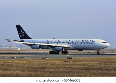 FRANKFURT,GERMANY-FEB 09:LUFTHANSA  Airbus A340-300 takes off at airport on February 09,2017 in Frankfurt,Germany.