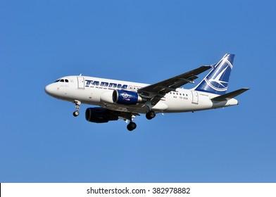 FRANKFURT,GERMANY-FEBR 25:airplane of TAROM Air above the Frankfurt airport on February 25,2016 in Frankfurt,Germany.TAROM is the national airline of Romania.