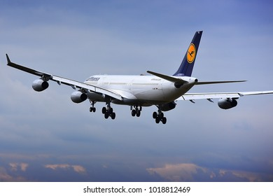 FRANKFURT,GERMANY-FEBRUARY 03,2018: LUFTHANSA Airlines Airbus A340-300 lands at Frankfurt airport.