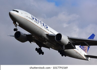 FRANKFURT,GERMANY-FEBRUARY 03,2018: United Airlines Boeing 777 lands at Frankfurt airport.