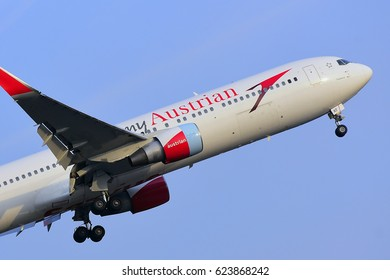FRANKFURT,GERMANY-FEBRUARY 09: Austrian Airlines Boeing 767-31A lands at Frankfurt airport on February 09,2017 in Frankfurt,Germany.