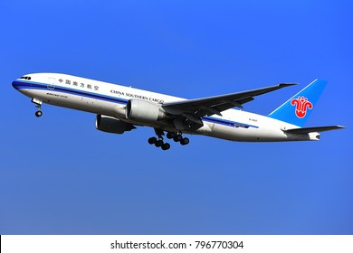 FRANKFURT,GERMANY-FEBRUARY 09: China Southern Airlines Cargo Boeing 777F lands at Frankfurt airport.