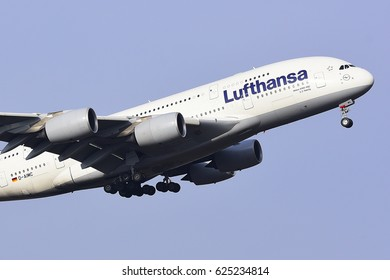 FRANKFURT,GERMANY-FEBRUARY 09: ELUFTHANSA Airbus A380-800 from Peking approaching to the airport on February 09,2017 in Frankfurt,Germany.