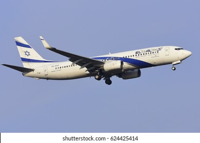 FRANKFURT,GERMANY-FEBRUARY 09: ISRAEL AIRLINES Boeing 737-800 approaching to the airport on February 09,2017 in Frankfurt,Germany.