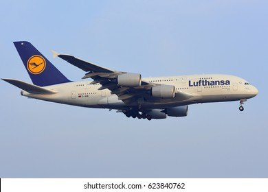 FRANKFURT,GERMANY-FEBRUARY 09: LUFTHANSA AIRLINES Airbus A380-800 from Berlin lands at Frankfurt airport on February 09,2017 in Frankfurt,Germany.