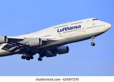 FRANKFURT,GERMANY-FEBRUARY 09: LUFTHANSA AIRLINES Boeing 747-400 approaching to the airport on February 09,2017 in Frankfurt,Germany.