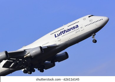 FRANKFURT,GERMANY-FEBRUARY 09: LUFTHANSA Boeing 747-400 approaching to the airport on February 09,2017 in Frankfurt,Germany.