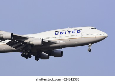 FRANKFURT,GERMANY-FEBRUARY 09: UNITED AIRLINES  Boeing 747-422 approaching to the Frankfurt airport on February 09,2017 in Frankfurt,Germany.