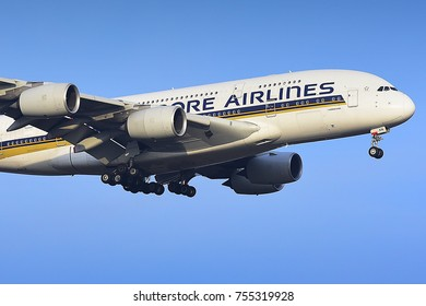 FRANKFURT,GERMANY-FEBRUARY 09,2017: SINGAPORE AIRLINES Airbus A380 over Frankfurt airport.