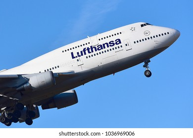 FRANKFURT,GERMANY-FEBRUARY 24,2018: D- ABVS Lufthansa Airlines  Boeing 747-400.