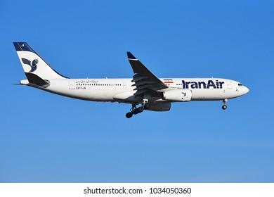 FRANKFURT,GERMANY-FEBRUARY 24,2018: IRAN AIR Airbus 330-200 lands at airport.
