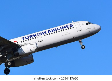 FRANKFURT,GERMANY-FEBRUARY 24,2018: Turkish Airlines Airbus A321