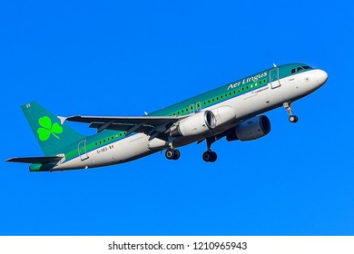 FRANKFURT,GERMANY-FEBRUARY 24,2018:EI-DES Aer Lingus Airbus A320.Aer Lingus is the flag carrier airline of Ireland and the second-largest airline in the country after Ryanair.