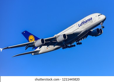FRANKFURT,GERMANY-FEBRUARY 24,2018:LUFTHANSA AIRLINES Airbus A380-800.