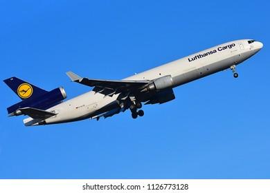 FRANKFURT,GERMANY-FEBRUARY 24,2018:LUFTHANSA CARGO MD-11Freighter.