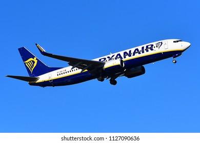 FRANKFURT,GERMANY-FEBRUARY 24,2018:RYANAIR Boeing 737.