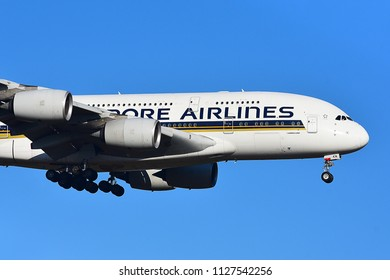 FRANKFURT,GERMANY-FEBRUARY 24,2018:SINGAPORE AIRLINES Airbus A380.