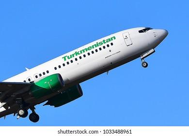 FRANKFURT,GERMANY-FEBRUARY 24,218: Turkmenistan Airlines Boeing 737-800