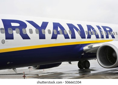 FRANKFURT,GERMANY-JAN 16:airplane of aircraft Ryanair in the Frankfurt Hahn airport on January 16, 2016. Ryanair is one of the largest low-cost European airline by scheduled passengers carried.