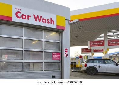 FRANKFURT,GERMANY-JAN 27:car wash from Shell on January 27,2017 in Frankfurt,Germany.